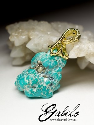 Turquoise Gold Pendant with Gem Report MSU