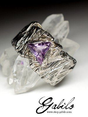 Amethyst Silver Ring with gem report MSU