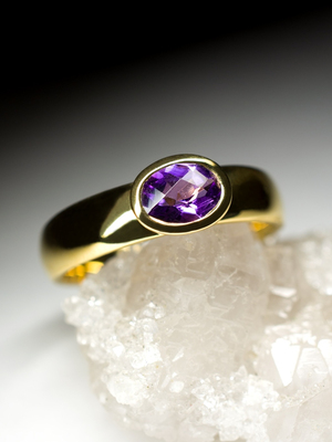 Amethyst Gold Ring with gem report MSU