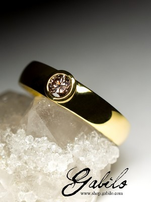 Diamond Champagne Gold Ring with Jewellery Report