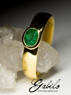 Emerald gold ring with Jewelry Report MSU
