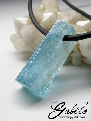 Men's Aquamarine Crystal Necklace on Rubber